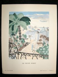 Gazette du Bon Ton by Demachy 1925 Art Deco Pochoir. Le Petit Port